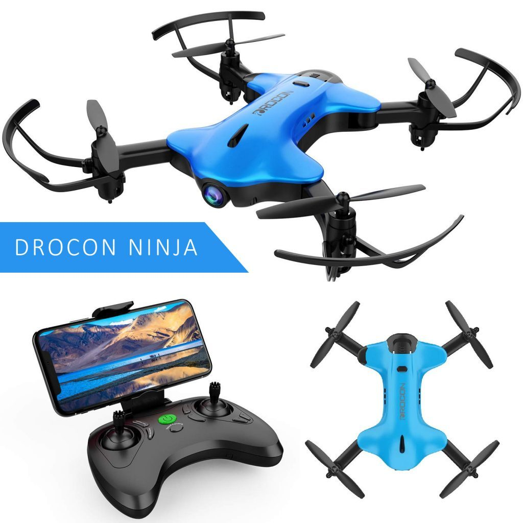 drocon ninja foldable drone is at #15 for best drones under 200